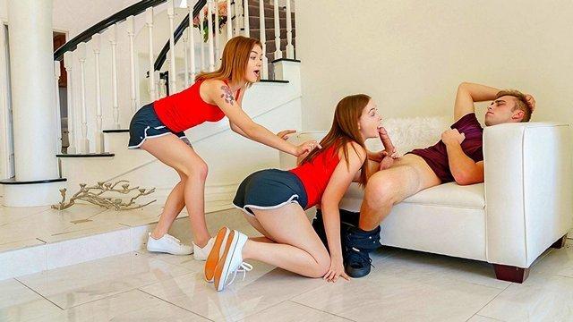 Гиг Порно Сводные сестрички решили подшутить над братом отсосав ему член пока он спал, жмж секс втроем две сестры и брат, инцест гигпорно видео