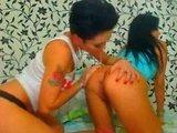 Две молоденькие девчонки резвятся друг с другом перед веб камерой