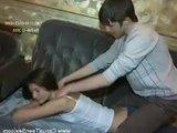 Молодая русская парочка разогрелась после массажа на диване