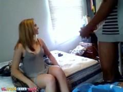 Скрытая камера записала приход негра к молодой белой девке и бурный трах той в постели